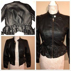 Arden b black biker moto ruffle zip jacket size s